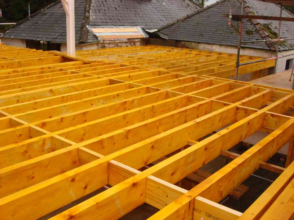 Eco house robison construction for Floor joist construction